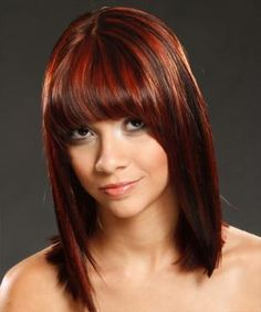 25 Nicest Brown Hair With Red Highlights | CreativeFan too stripe ish