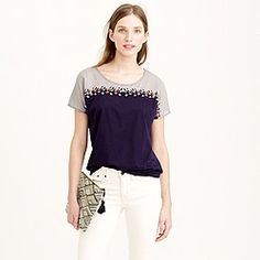 Embroidered colorblock tee