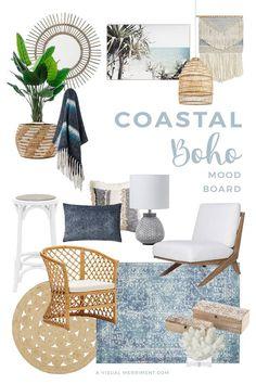 Coastal Living Rooms, Boho Living Room, Living Room Decor, Boho Chic Bedroom, Coastal Homes, Coastal Bedrooms, Bohemian Living, Living Room Interior, Tyni House