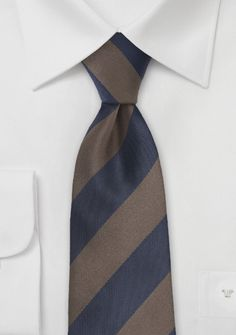 Wide Striped Tie in Brown and Navy