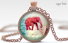 Red Elephant Necklace, Elephant Art Pendant, Elephant Jewelry, Your Choice of Finish (365)