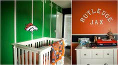 Newborn photo session with Dreamy Portraits. Denver Broncos baby boy nursery
