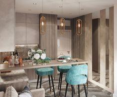 The Best 2019 Interior Design Trends - Interior Design Ideas Kitchen Room Design, Kitchen Cabinet Colors, Home Decor Kitchen, Interior Design Kitchen, Home Kitchens, Small Apartment Interior, Apartment Design, Comfy Cozy Home, Rooms Ideas