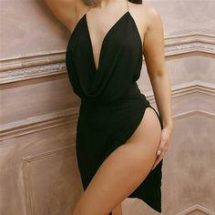 Olivia V- Neck Split Dress