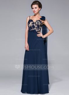Sheath/Column Sweetheart Floor-Length Chiffon Lace Mother of the Bride Dress With Beading Split Front (017025683)
