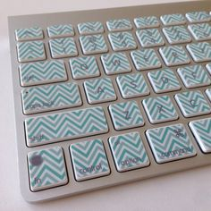 I want this! Can't wait to see if my new keyboard will fit these!    Mint and White Chevron iMac MacBook Pro and by StickerDoodle