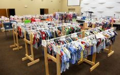 Great idea for make it yourself clothes racks/holders for storage, garage sales, ministry shops, etc.