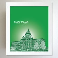 Rhode Island Skyline State Capitol Landmark - Modern Gift Decor Art Poster 8x10. $20.00, via Etsy.
