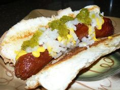 Grilled 1/4 Pound Hebrew National All Beef Hotdog with Onions, Mustard and Sweet Relish on a Grilled Buttered Bun | Yelp