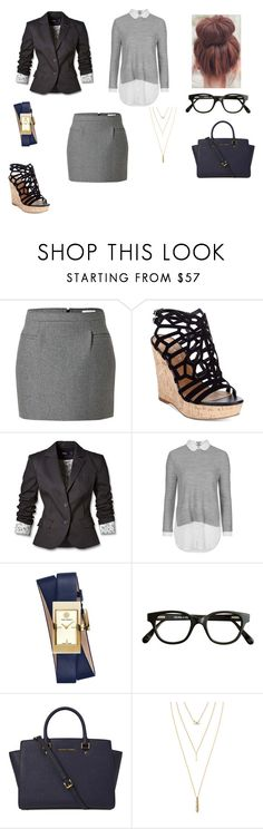 """""""Work in the city"""" by shaina-elise-hamby ❤ liked on Polyvore featuring J.W. Anderson, Charles by Charles David, Mexx, Topshop, Tory Burch, Selima Optique, Michael Kors and Jules Smith"""
