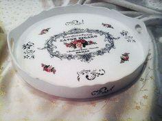 Retro decoupage handmade bandeja decorativa do vintage por limaartdesign