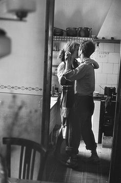 """Available for sale from Magnum Photos, Elliott Erwitt, """"Couple dancing"""" (Valencia, Spain) Signed silver gelatin print (photographer's signature on … Dancing In The Kitchen, Robert Frank, Valencia Spain, Lets Dance, Romantic Dinners, Romantic Recipes, Swing Dancing, Belle Photo, Magnum Photos"""