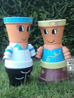 Image result for bonhomme en pot de fleur Flower Pot Art, Clay Flower Pots, Flower Pot Crafts, Bunny Crafts, Clay Pot Projects, Clay Pot Crafts, Diy Clay, Flower Pot People, Clay Pot People