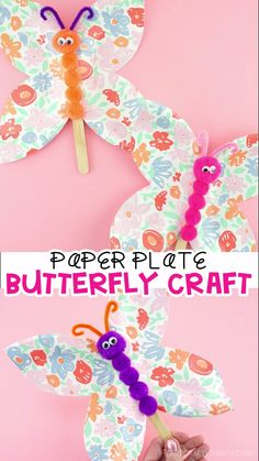 How to Make a Floral Paper Plate Butterfly CraftPaper Plate Butterfly Craft -Creative and Easy craft for kids! This simple paper plate butterfly craft is a super easy spring craft for kids to make. Fun butterfly craft idea for preschool and kids Spring Crafts For Kids, Crafts For Kids To Make, Easy Crafts For Kids, Summer Crafts, Toddler Crafts, Projects For Kids, Fun Crafts, Art For Kids, Art Projects