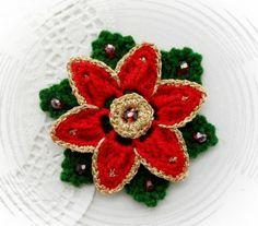 CROCHET BROOCH APPLIQUE DECORATION GLITTER FLOWER CHRISTMAS FLOWER POINSETTIA in Crafts, Crocheting & Knitting, Other Crocheting & Knitting   eBay