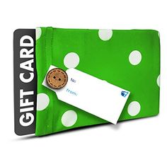 Wrapeez Gift Card Holder - Stretchable, Reusable and Eco Friendly (1 Gift Card Holder with 1 FREE Gift Tag) (Green and White Polka Dots)
