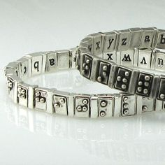 The design of this bracelet combines beautiful jewelry design and the braille alphabet to help spread the need for Braille literacy. Unemployment among individuals who are blind hovers at about 70%, but of those individuals who are employed 95% read braille.