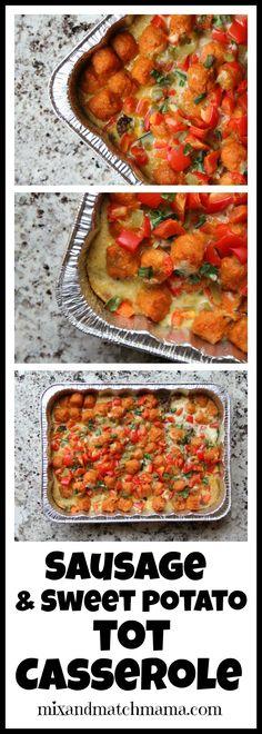 Sausage & Sweet Potato Tot Casserole