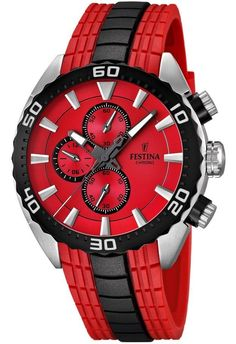 Festina F16664/5 Men's Watch Red Dial Chrono Red/Black Intergrated Rubber Strap