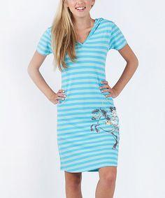 Look at this #zulilyfind! Blue Stripe Cowboy Cat Nightgown - Women by munki munki #zulilyfinds