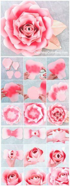 Large Paper Rose Template, Giant Paper Flower Printable Template & Tutorial, Paper Flowers, Wedding Backdrop, DIY Paper Flowers