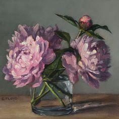 Peinture originale d'encadrée de peinture à l'huile - pivoines - Elizabeth Floyd - 8 x 8 pouces-