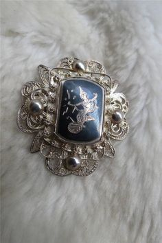 Vintage Siam Sterling Silver Nielloware Filigree Goddess Brooch
