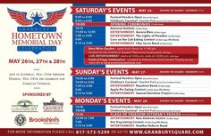 Official schedule for the Granbury, TX Hometown Memorial Day Festival! Join us as we celebrate and honor our troops. National Anthem, Say Hello, Troops, Memorial Day, Schedule, Remodeling, Carnival, Join, Events