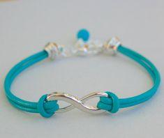 Genuine LEATHER Cord Silver INFINITY Bracelet  Color by BeMyCharm, $10.75