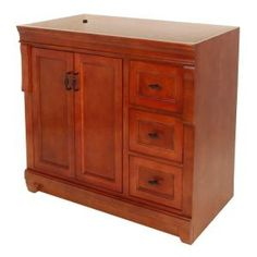 Foremost Naples 36 In. W Bath Vanity Cabinet Only In Warm Cinnamon With  Right Hand Drawers
