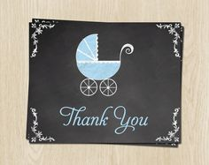 Chalkboard, Baby Shower Thank You Cards, Carriage, Boy, Blue, 24 Printed Folding Notes, FREE Shipping, CLKBL, Blackboard, Traditional by TheInviteLadyShop on Etsy https://www.etsy.com/listing/209357119/chalkboard-baby-shower-thank-you-cards