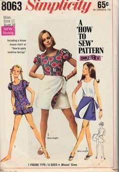 60's Simple to Sew Reversible Mini Wrap by VintageNeedleFinds