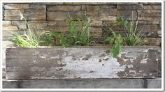 chippy planter on outdoor mantle