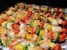 Grill Recipe - Hawaiian Chicken Kabobs - YUM! This is one of my favorite chicken recipes EVER! I make this often in the Summer for guests. These kabobs taste amazing and look beautiful.