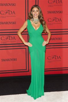 """No. 7: Sofia VergaraThe """"Modern Family"""" star flaunted her famous curves in an emerald green gown by Herve L. Leroux at the CFDA Fashion Awards in New York City on June 3, 2013.RELATED: 2013 CFDA Fashion Awards red carpet"""