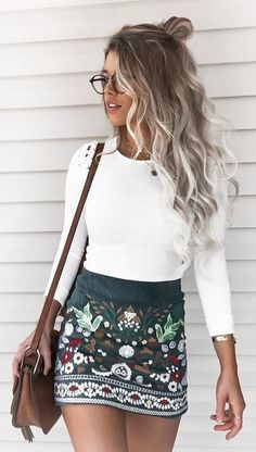 #summer #outfits White Top + Black Printed Skirt + Brown Shoulder Bag // Shop this exact outfit in the link