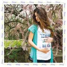 T-shirt premaman bianca Polaroid - http://www.nonaluna.com/it/maternity/premaman/t-shirt-premaman/