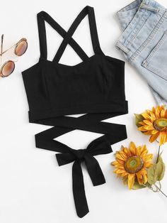 Shop Criss Cross Knot Crop Top at ROMWE, discover more fashion styles online. Crop Top Outfits, Cute Casual Outfits, Pretty Outfits, Stylish Outfits, Summer Outfits, Girls Fashion Clothes, Teen Fashion Outfits, Look Fashion, Girl Outfits