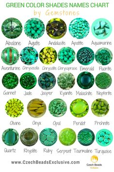 Green Color Shades Names Chart By Gemstones: For Beads, Buttons, Cords and Other Beading, DIY Supplies | SAVE it for yourself & friends :) #czechbeadsexclusive