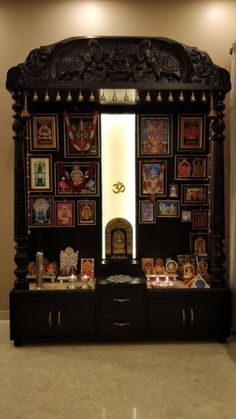 Traditional Carved Wooden Puja Mandir/ Hindu home temple with Brassbells and cabinets Pooja Room Door Design, Home Room Design, Home Interior Design, Living Room Designs, House Design, Bedroom Designs, Room Interior, Interior Styling, Wooden Temple For Home