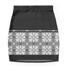 """""""Texture black-and-white, nostalgic"""" Pencil Skirts by floraaplus 