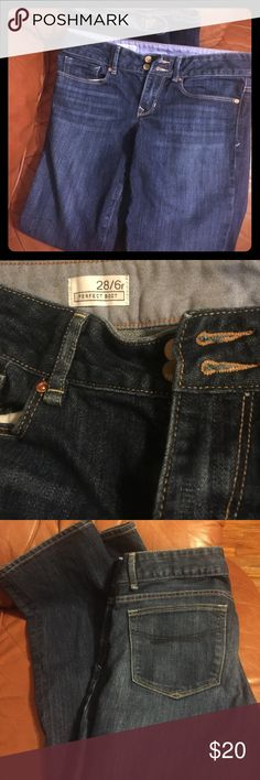 GAP 1969 perfect boot cut jeans Dark blue denim. Double button fly. Bronze stitching and hardware. GAP Jeans Boot Cut