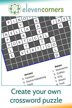 Custom crossword puzzle print - personalised wall art. We do the crossword design from your clues and answers. Great creative home decor gift idea, makes a unique, personal gift. Printable version also available. #elevencorners #crossword #homedecor #giftideas #personalisedprint Personalised Prints, Personalized Wall Art, Personalized Gifts, Handmade Gifts, Leaving Work, Little Bit Of You, Family Wall Art, People Names, Music Artwork