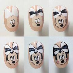 Cartoon Nail Designs, Nail Art Designs, Nail Time, Nail Tutorials, Short Nails, Halloween Nails, Nail Inspo, Chibi, Mickey Mouse