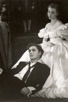 Hamlet 1948  Michael Benthall's production  designed by James Bailey, with Paul Scofield playing Hamlet and Claire Bloom playing Ophelia.  This production notably featured Robert Helpmann and Paul Scofield alternating in the title role.  Photo by Angus McBean.  via  http://www.rsc.org.uk/whats-on/hamlet/past-production-photos.aspx#
