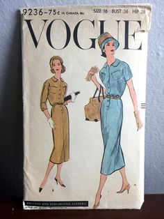 """1950's Vogue Day Dress with Two Sleeve Lengths Pattern - Bust 36"""" - No. 9236 by backroomfinds on Etsy"""