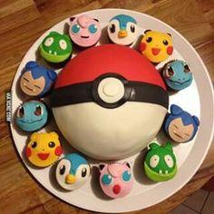 Pokemon cupcakes and Pokeball cake