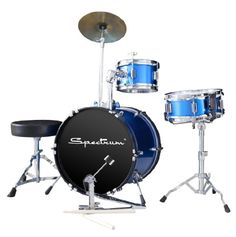 Spectrum AIL 660B 3-Piece Junior Drum Set with 10-Inch Crash Cymbal and Drum Throne, Electric Blue - http://www.kidstrument.com/instrument-accessories/spectrum-ail-660b-3-piece-junior-drum-set-with-10-inch-crash-cymbal-and-drum-throne-electric-blue