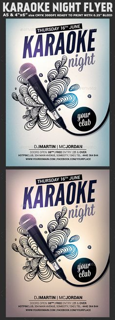 Karaoke Night #Flyer Template - Clubs & Parties Events Download here: https://graphicriver.net/item/karaoke-night-flyer-template/20020283?ref=alena994