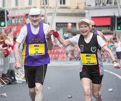 Tag your VALENTINE!!  . . (ENGLISH): HAPPY VALENTINE'S DAY Kay and Joe ORegan finishing the Cork City Marathon in southern Ireland together this was the 142nd marathon finish between the two of them they ran the last half-mile holding hands just as they did while finishing their first marathon together 30 years ago! They're both 80 years old so Kays performance has made her the fastest 80-year-old female in the U.K. Running is a part of our lives. And it hopefully will be for a few more…